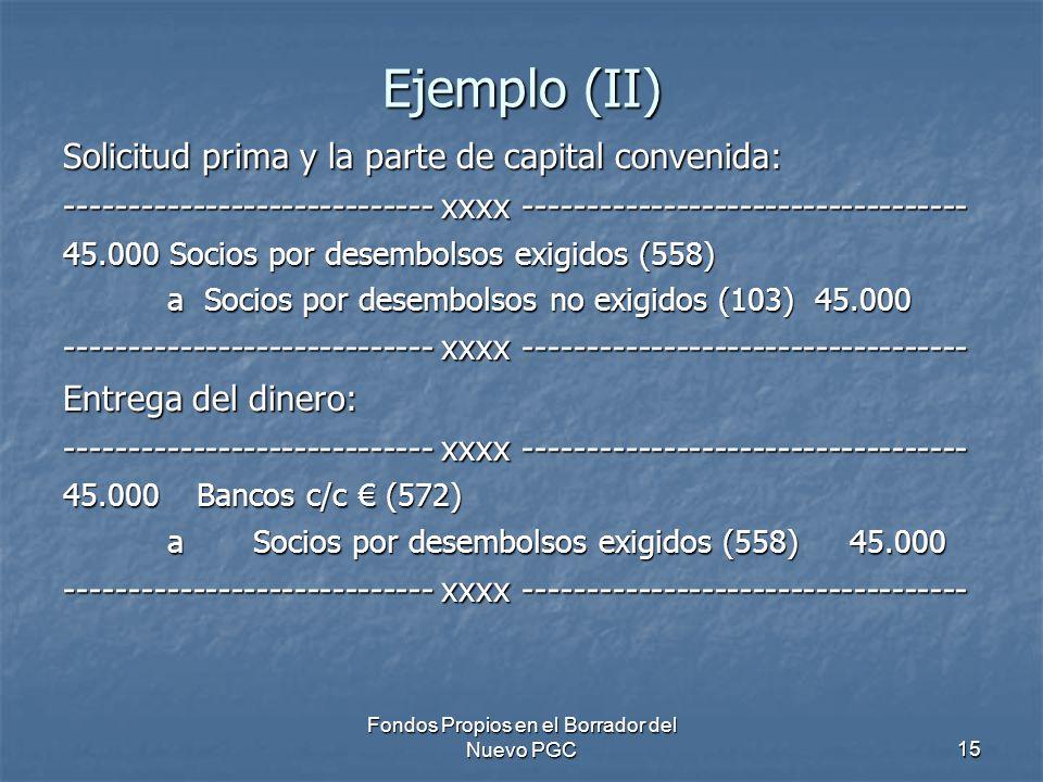 Fondos Propios en el Borrador del Nuevo PGC15 Ejemplo (II) Solicitud prima y la parte de capital convenida: ----------------------------- xxxx ----------------------------------- 45.000 Socios por desembolsos exigidos (558) a Socios por desembolsos no exigidos (103) 45.000 ----------------------------- xxxx ----------------------------------- Entrega del dinero: ----------------------------- xxxx ----------------------------------- 45.000 Bancos c/c (572) a Socios por desembolsos exigidos (558) 45.000 ----------------------------- xxxx -----------------------------------