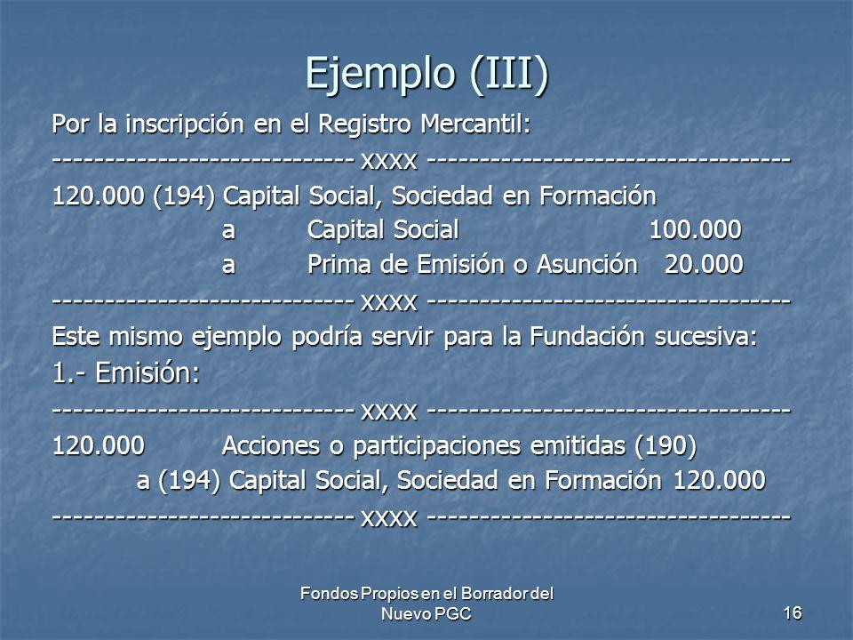 Fondos Propios en el Borrador del Nuevo PGC16 Ejemplo (III) Por la inscripción en el Registro Mercantil: ----------------------------- xxxx ----------