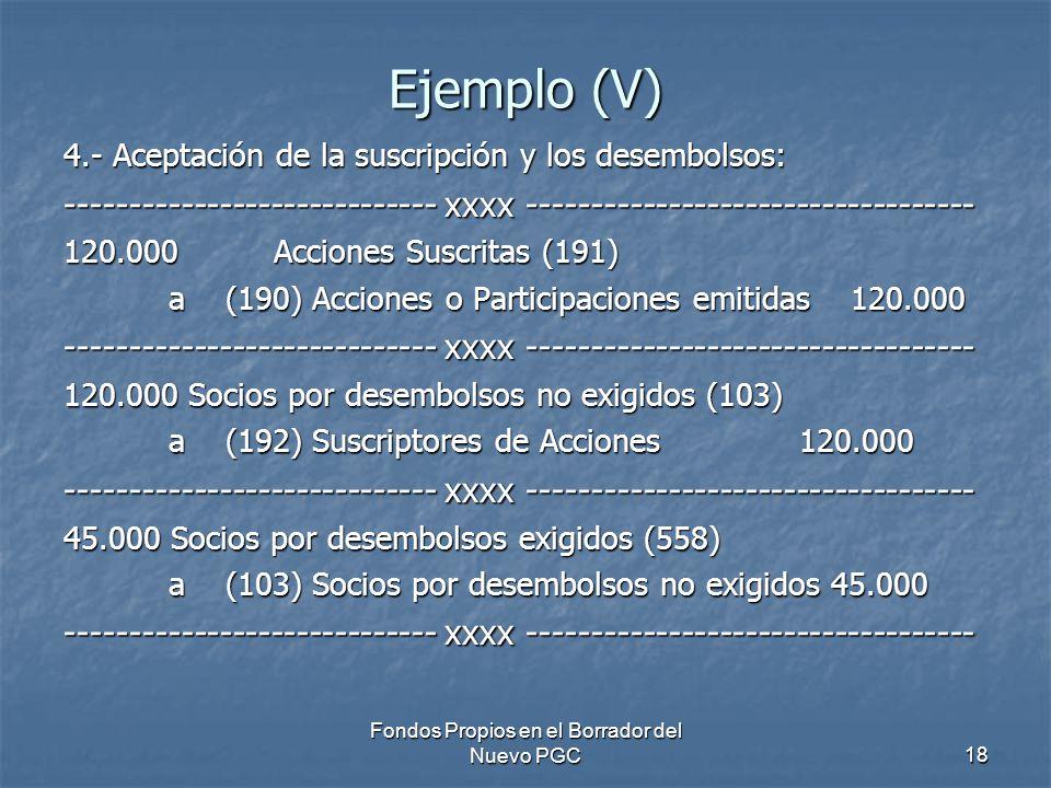 Fondos Propios en el Borrador del Nuevo PGC18 Ejemplo (V) 4.- Aceptación de la suscripción y los desembolsos: ----------------------------- xxxx ----------------------------------- 120.000 Acciones Suscritas (191) a (190) Acciones o Participaciones emitidas 120.000 ----------------------------- xxxx ----------------------------------- 120.000 Socios por desembolsos no exigidos (103) a (192) Suscriptores de Acciones 120.000 ----------------------------- xxxx ----------------------------------- 45.000 Socios por desembolsos exigidos (558) a (103) Socios por desembolsos no exigidos 45.000 ----------------------------- xxxx -----------------------------------