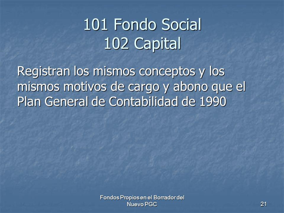 Fondos Propios en el Borrador del Nuevo PGC21 101 Fondo Social 102 Capital Registran los mismos conceptos y los mismos motivos de cargo y abono que el Plan General de Contabilidad de 1990