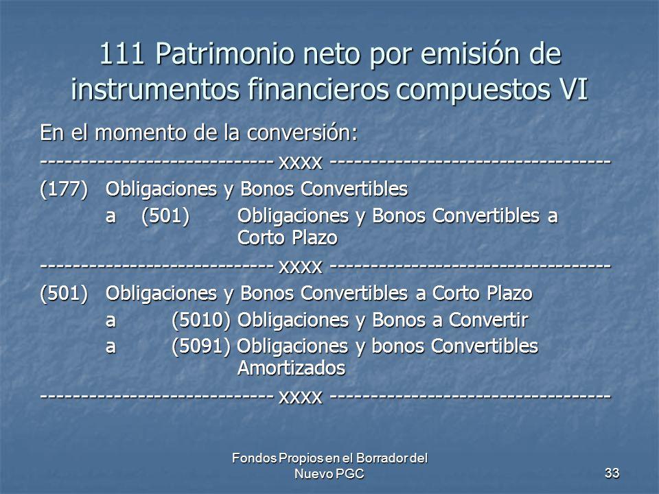 Fondos Propios en el Borrador del Nuevo PGC33 111 Patrimonio neto por emisión de instrumentos financieros compuestos VI En el momento de la conversión