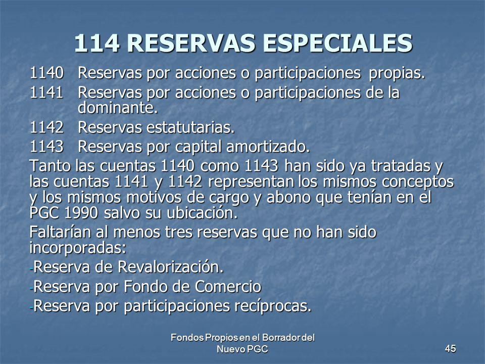 Fondos Propios en el Borrador del Nuevo PGC45 114 RESERVAS ESPECIALES 1140Reservas por acciones o participaciones propias. 1141Reservas por acciones o