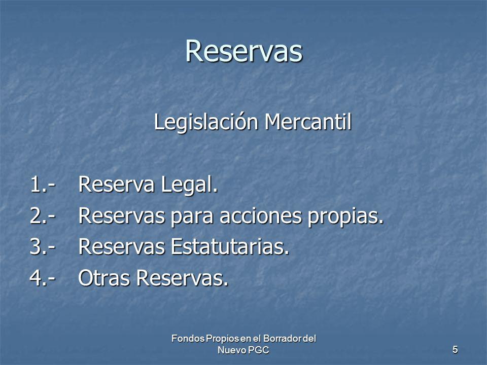 Fondos Propios en el Borrador del Nuevo PGC5 Reservas Legislación Mercantil 1.-Reserva Legal. 2.-Reservas para acciones propias. 3.-Reservas Estatutar