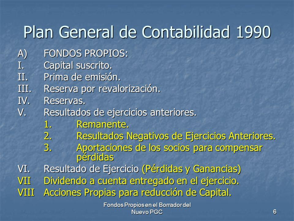 Fondos Propios en el Borrador del Nuevo PGC6 Plan General de Contabilidad 1990 A)FONDOS PROPIOS: I.Capital suscrito. II.Prima de emisión. III.Reserva