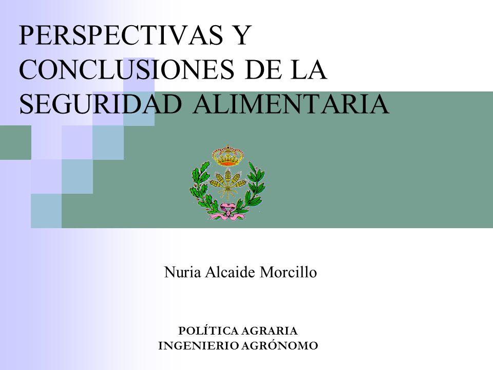 PERSPECTIVAS Y CONCLUSIONES DE LA SEGURIDAD ALIMENTARIA POLÍTICA AGRARIA INGENIERIO AGRÓNOMO Nuria Alcaide Morcillo