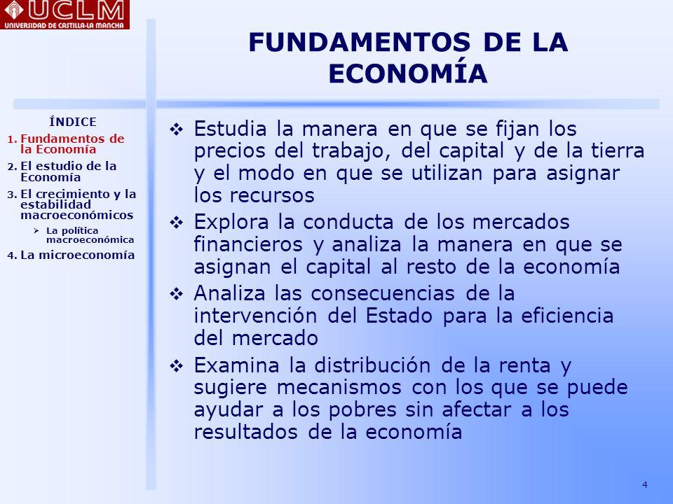 5 FUNDAMENTOS DE LA ECONOMÍA Examina la influencia del gasto público, de los impuestos y de los déficit presupuestarios en el crecimiento Estudia las oscilaciones del desempleo y de la producción que constituyen el ciclo económico y elabora medidas para mejorar el crecimiento económico Examina los patrones del comercio internacional y analiza las consecuencias de las barreras comerciales Analiza el crecimiento en los países en vías de desarrollo y propone medidas para fomentar la utilización eficiente de los recursos ÍNDICE 1.