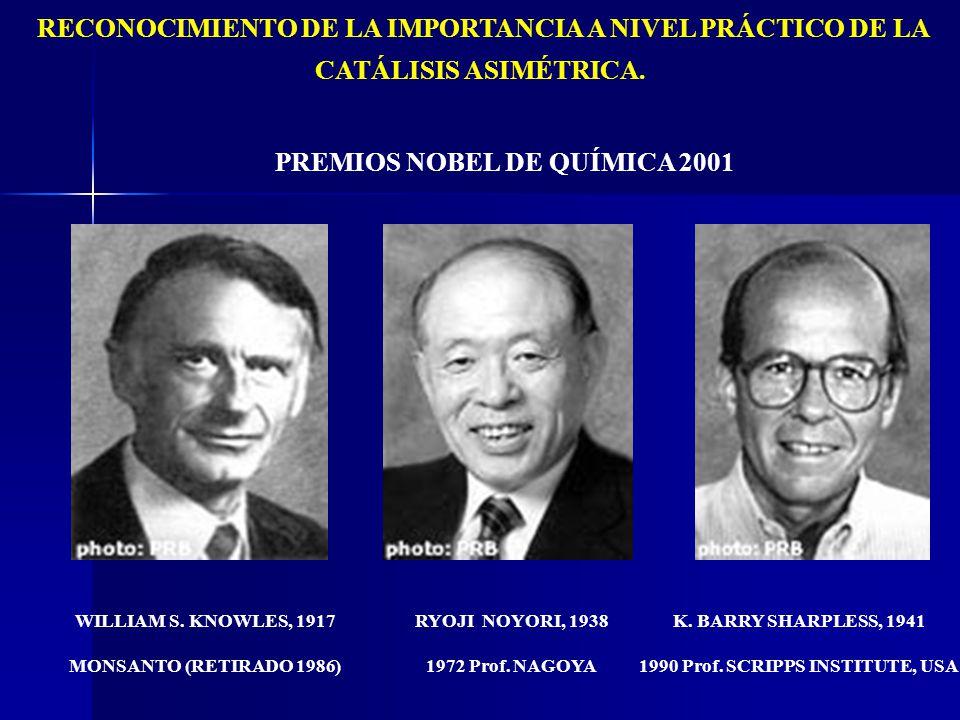 RECONOCIMIENTO DE LA IMPORTANCIA A NIVEL PRÁCTICO DE LA CATÁLISIS ASIMÉTRICA. PREMIOS NOBEL DE QUÍMICA 2001 WILLIAM S. KNOWLES, 1917 MONSANTO (RETIRAD