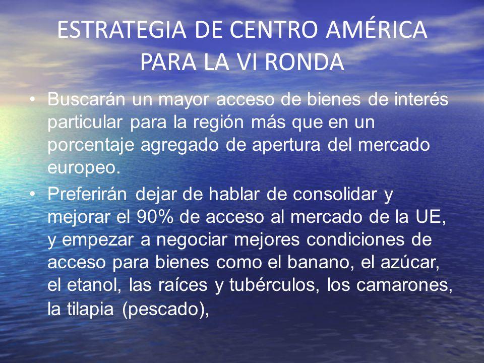 ESTRATEGIA DE CENTRO AMÉRICA PARA LA VI RONDA Buscarán un mayor acceso de bienes de interés particular para la región más que en un porcentaje agregad