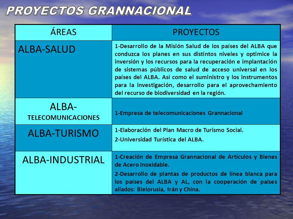 ÁREASPROYECTOS ALBA-SALUD 1-Desarrollo de la Misión Salud de los países del ALBA que conduzca los planes en sus distintos niveles y optimice la invers