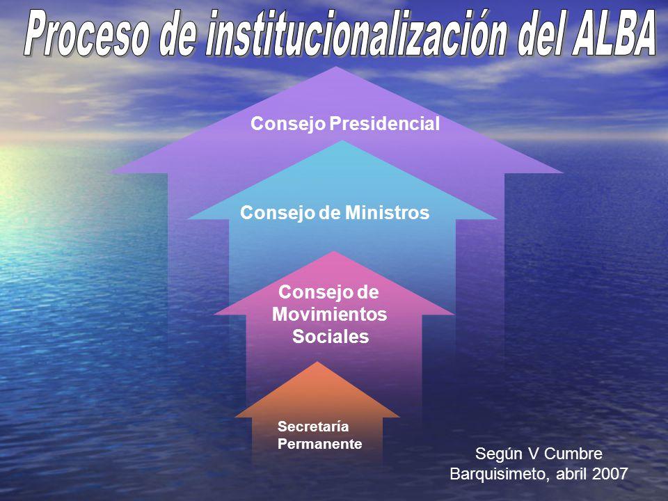 Consejo de Ministros Consejo Presidencial Secretaría Permanente Consejo de Movimientos Sociales Según V Cumbre Barquisimeto, abril 2007