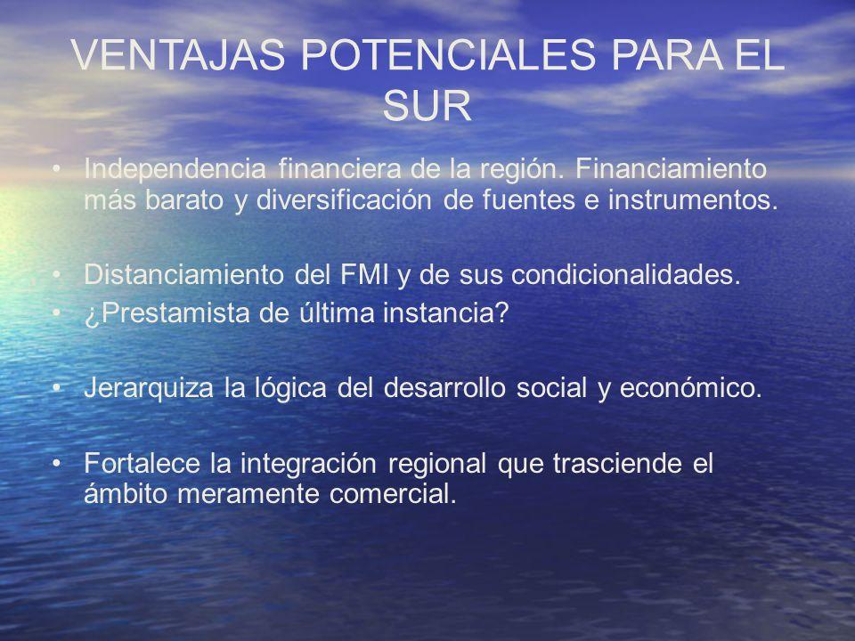 VENTAJAS POTENCIALES PARA EL SUR Independencia financiera de la región. Financiamiento más barato y diversificación de fuentes e instrumentos. Distanc