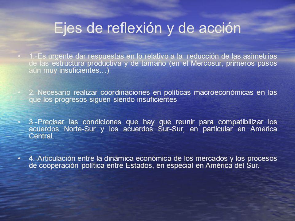 Ejes de reflexión y de acción 1.-Es urgente dar respuestas en lo relativo a la reducción de las asimetrías de las estructura productiva y de tamaño (e