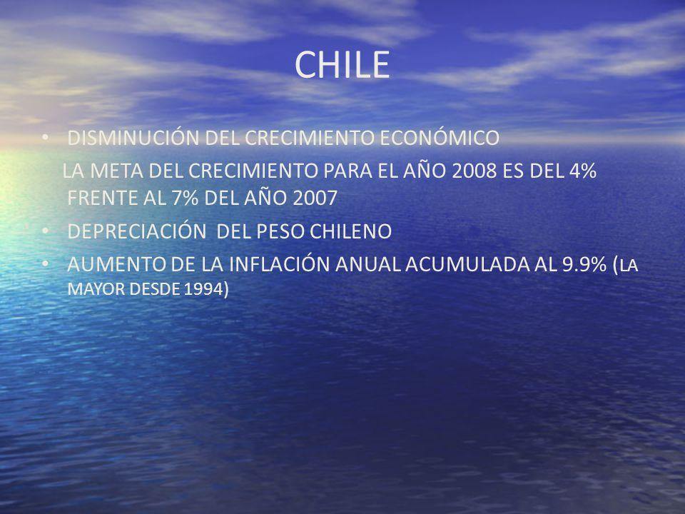 CHILE DISMINUCIÓN DEL CRECIMIENTO ECONÓMICO LA META DEL CRECIMIENTO PARA EL AÑO 2008 ES DEL 4% FRENTE AL 7% DEL AÑO 2007 DEPRECIACIÓN DEL PESO CHILENO
