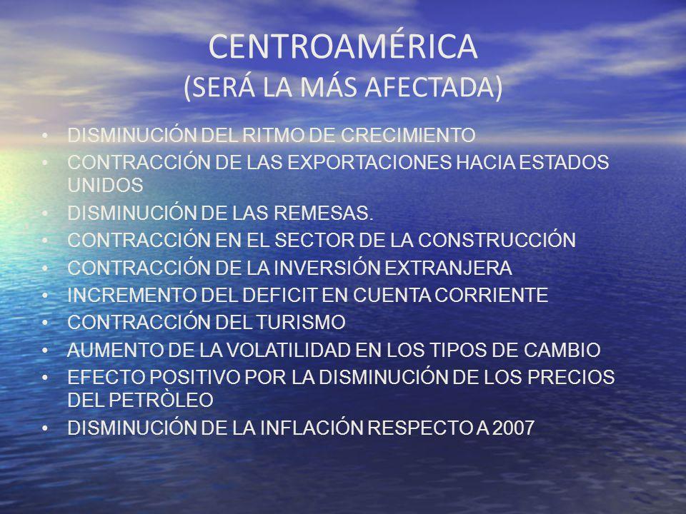 CENTROAMÉRICA (SERÁ LA MÁS AFECTADA) DISMINUCIÓN DEL RITMO DE CRECIMIENTO CONTRACCIÓN DE LAS EXPORTACIONES HACIA ESTADOS UNIDOS DISMINUCIÓN DE LAS REM