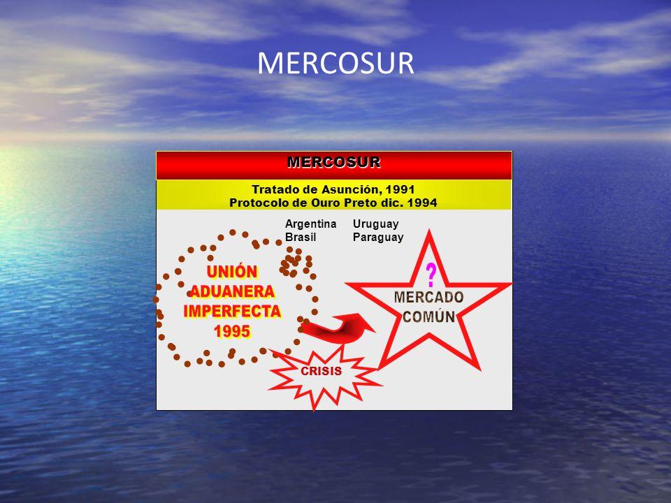 MERCOSUR Tratado de Asunción, 1991 Protocolo de Ouro Preto dic. 1994 MERCOSUR Argentina Brasil Uruguay Paraguay CRISIS