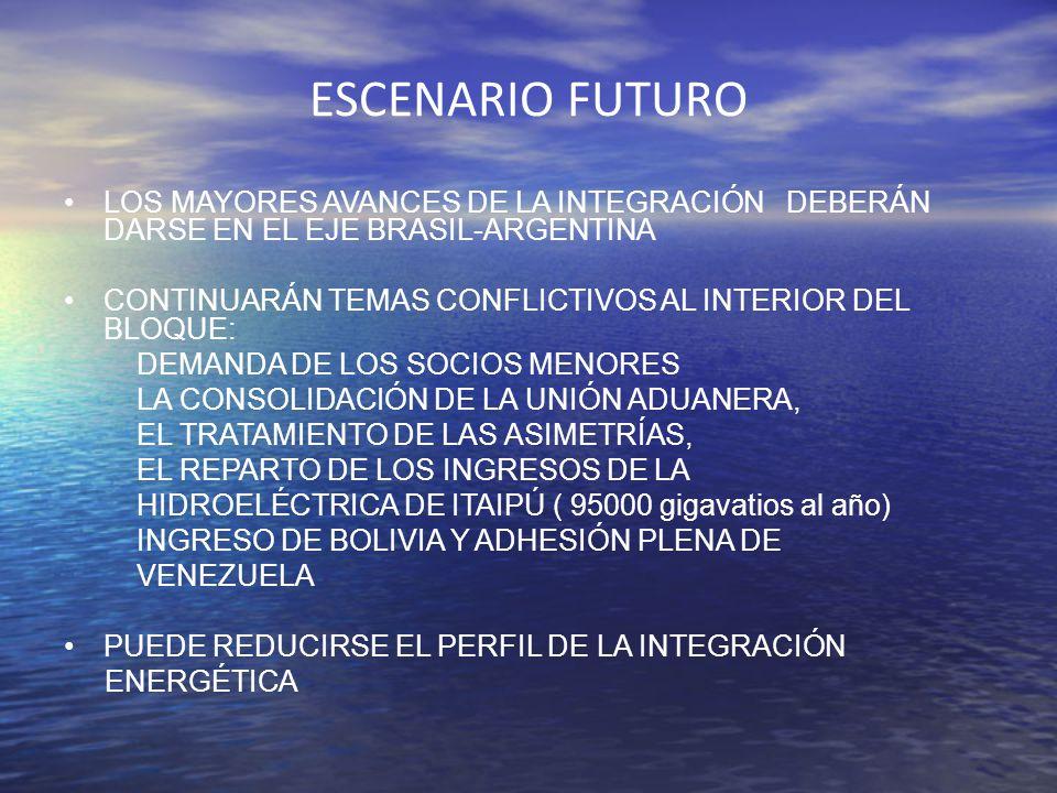 ESCENARIO FUTURO LOS MAYORES AVANCES DE LA INTEGRACIÓN DEBERÁN DARSE EN EL EJE BRASIL-ARGENTINA CONTINUARÁN TEMAS CONFLICTIVOS AL INTERIOR DEL BLOQUE: