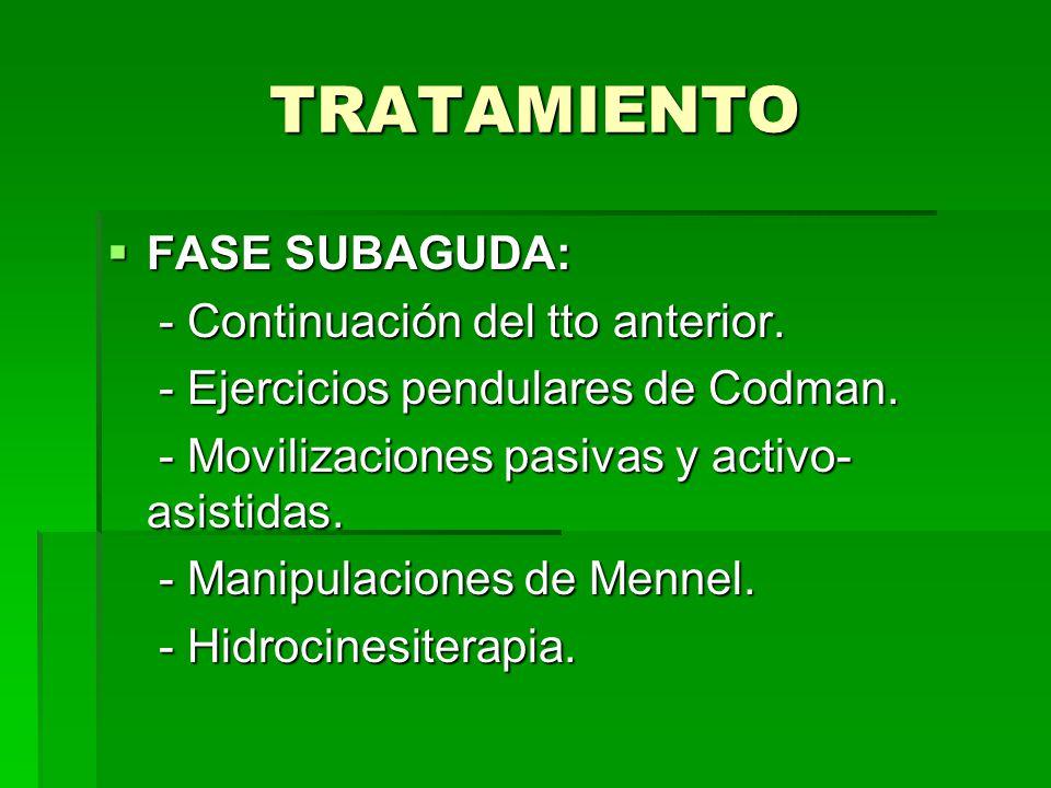 TRATAMIENTO FASE SUBAGUDA: - Continuación del tto anterior. - Ejercicios pendulares de Codman. - Movilizaciones pasivas y activo- asistidas. - Manipul