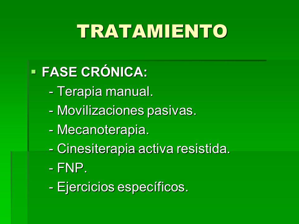 TRATAMIENTO FASE CRÓNICA: - Terapia manual. - Movilizaciones pasivas. - Mecanoterapia. - Cinesiterapia activa resistida. - FNP. - Ejercicios específic