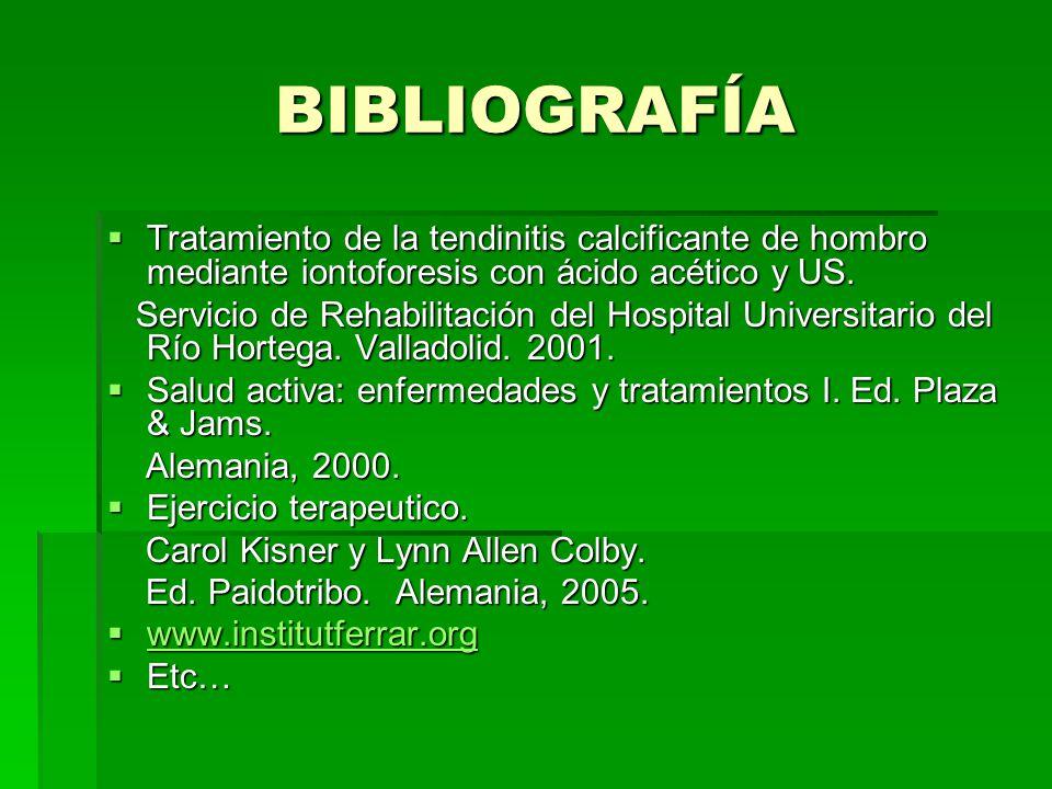 BIBLIOGRAFÍA Tratamiento de la tendinitis calcificante de hombro mediante iontoforesis con ácido acético y US.