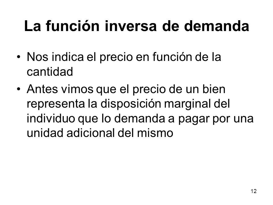 12 La función inversa de demanda Nos indica el precio en función de la cantidad Antes vimos que el precio de un bien representa la disposición margina