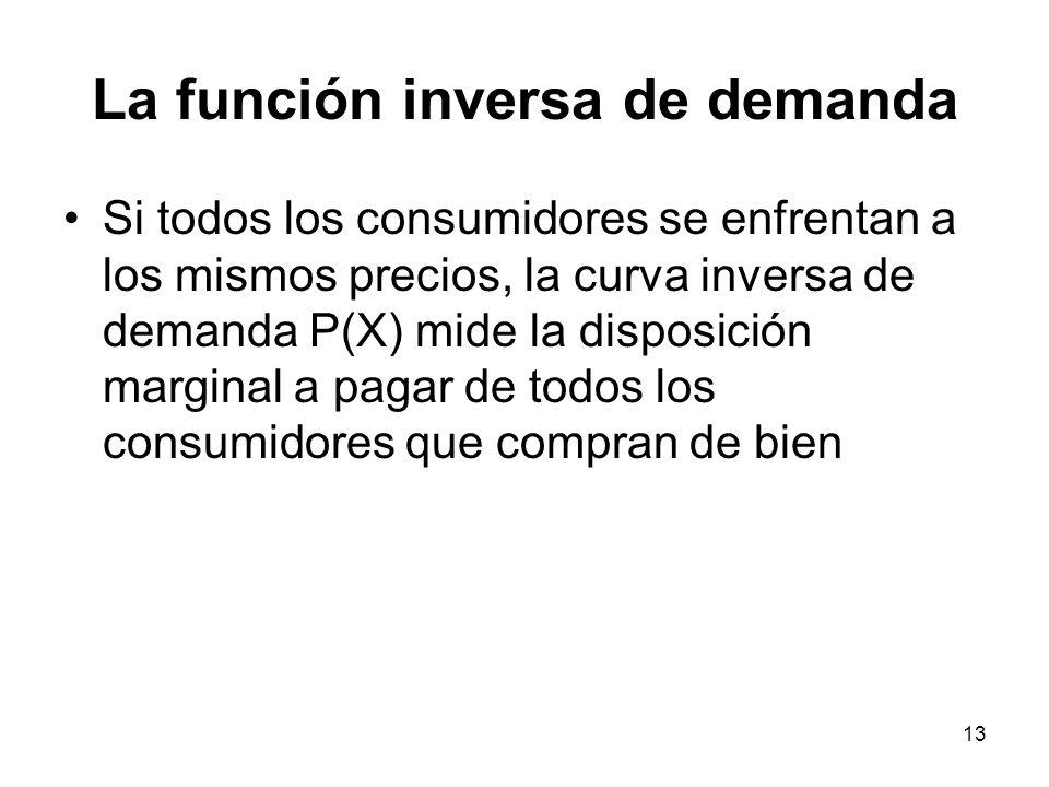 13 La función inversa de demanda Si todos los consumidores se enfrentan a los mismos precios, la curva inversa de demanda P(X) mide la disposición mar