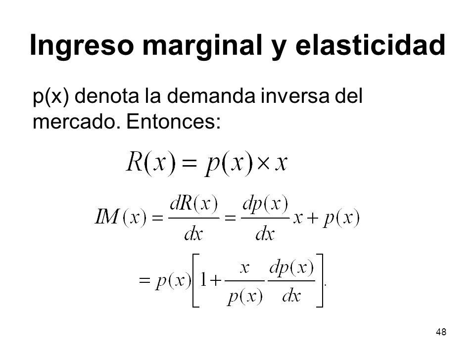 48 p(x) denota la demanda inversa del mercado. Entonces: Ingreso marginal y elasticidad
