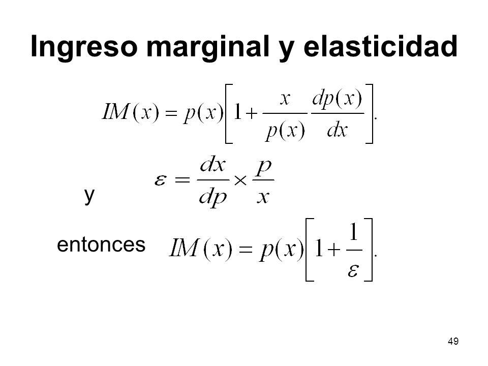 49 y entonces Ingreso marginal y elasticidad