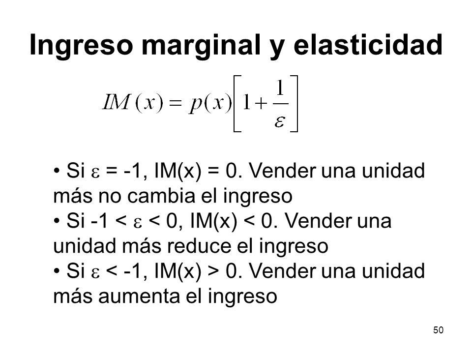 50 Si = -1, IM(x) = 0. Vender una unidad más no cambia el ingreso Si -1 < < 0, IM(x) < 0. Vender una unidad más reduce el ingreso Si 0. Vender una uni