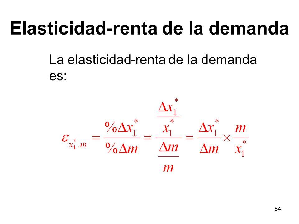 54 Elasticidad-renta de la demanda La elasticidad-renta de la demanda es: