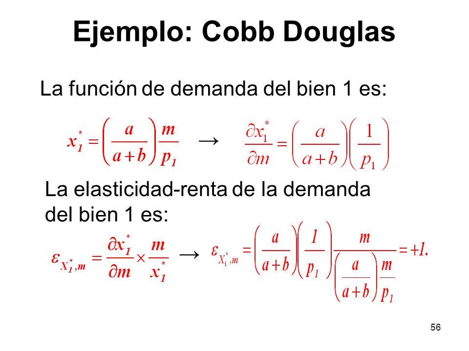 56 Ejemplo: Cobb Douglas La función de demanda del bien 1 es: La elasticidad-renta de la demanda del bien 1 es: