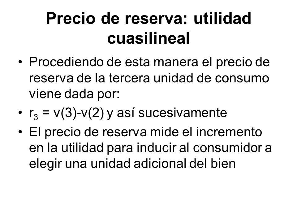 Precio de reserva: utilidad cuasilineal Procediendo de esta manera el precio de reserva de la tercera unidad de consumo viene dada por: r 3 = v(3)-v(2