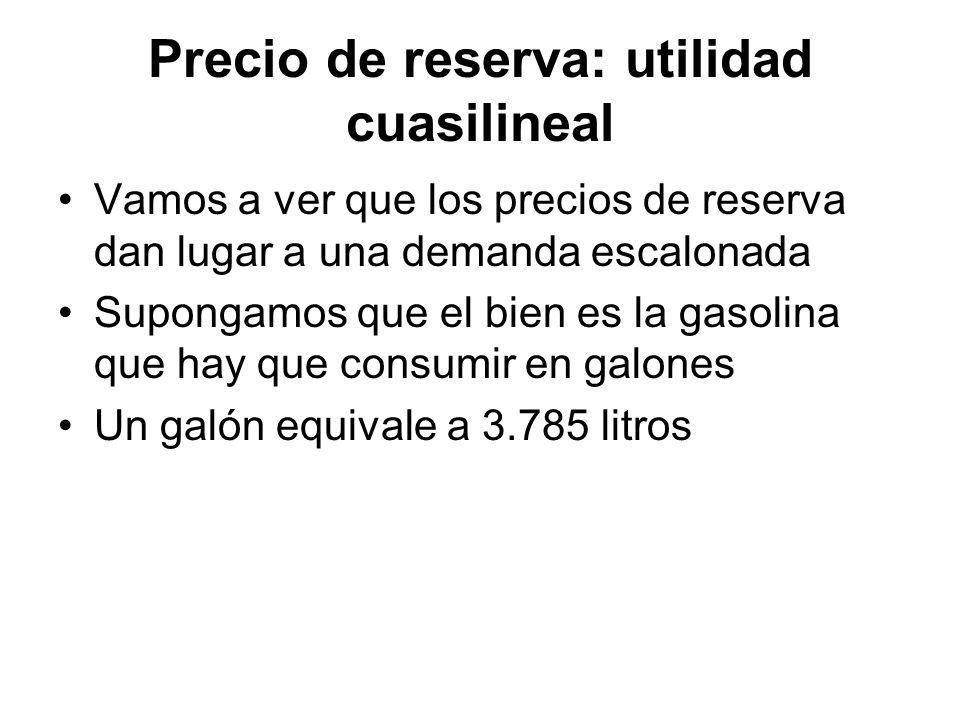 Precio de reserva: utilidad cuasilineal Vamos a ver que los precios de reserva dan lugar a una demanda escalonada Supongamos que el bien es la gasolin
