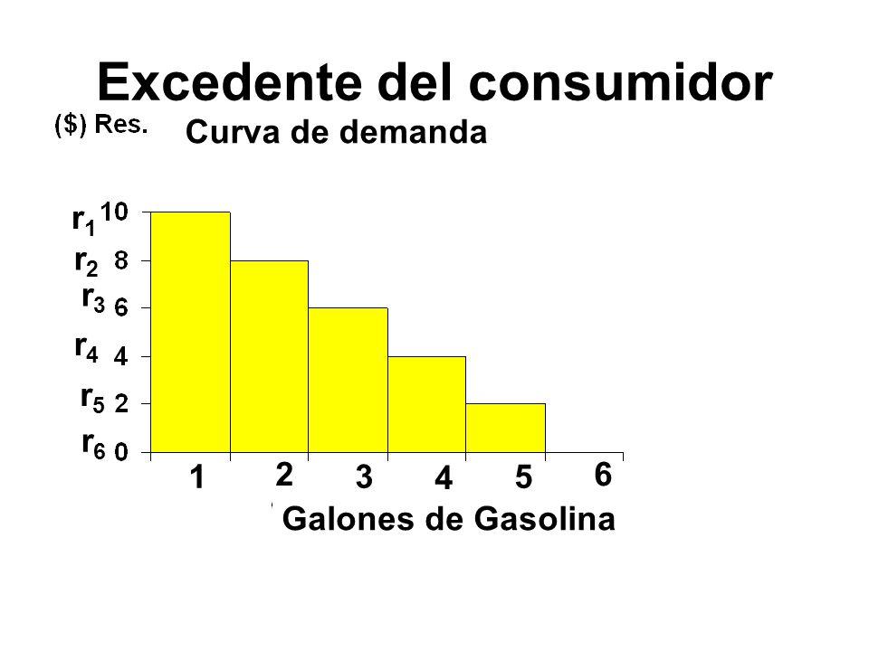 Excedente del consumidor 1 2 3 4 5 6 r1r1 r2r2 r3r3 r4r4 r5r5 r6r6 Galones de Gasolina Curva de demanda