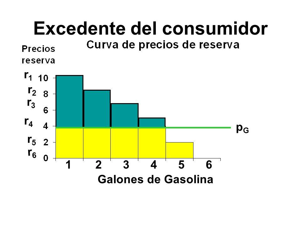 Excedente del consumidor 123456 r1r1 r2r2 r3r3 r4r4 r5r5 r6r6 pGpG Galones de Gasolina