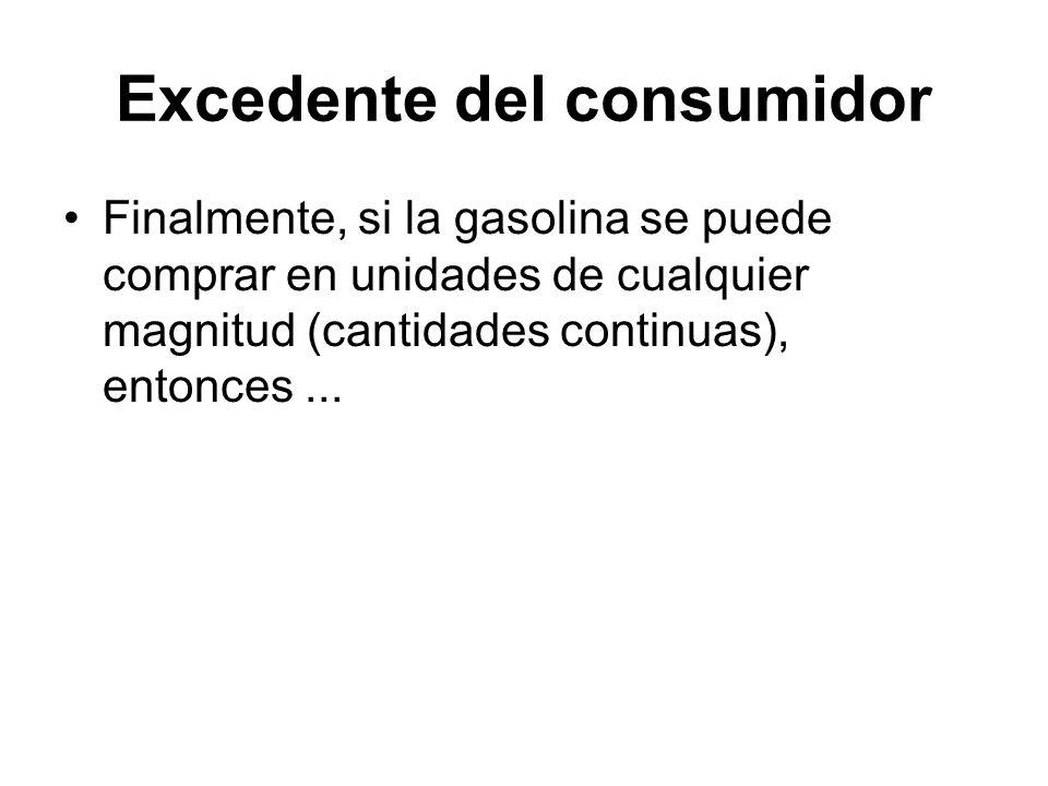 Finalmente, si la gasolina se puede comprar en unidades de cualquier magnitud (cantidades continuas), entonces... Excedente del consumidor