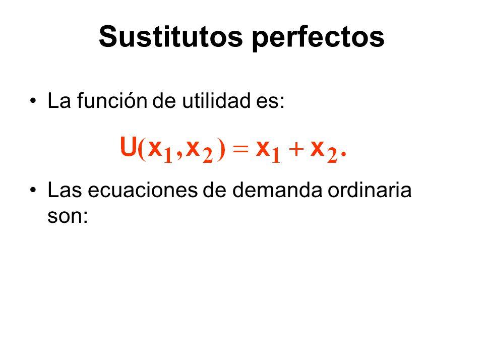 La función de utilidad es: Las ecuaciones de demanda ordinaria son: Sustitutos perfectos