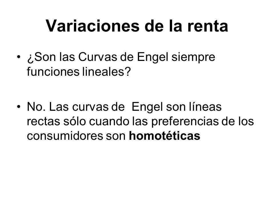Variaciones de la renta ¿Son las Curvas de Engel siempre funciones lineales? No. Las curvas de Engel son líneas rectas sólo cuando las preferencias de
