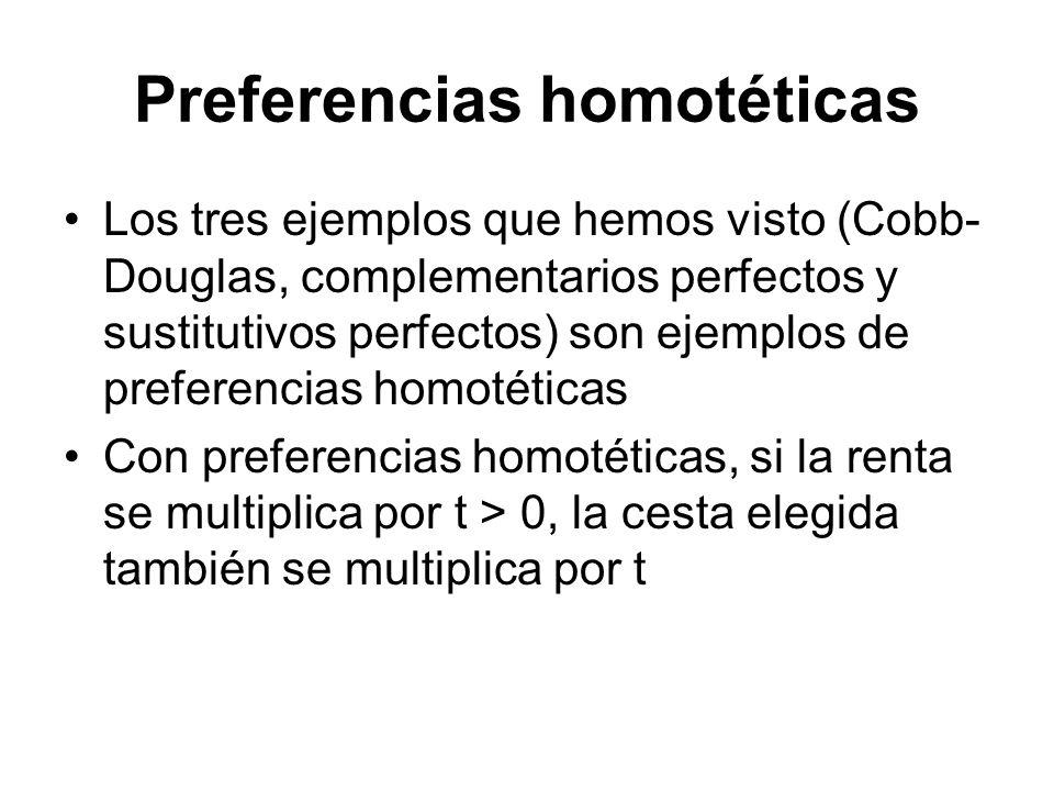 Preferencias homotéticas Los tres ejemplos que hemos visto (Cobb- Douglas, complementarios perfectos y sustitutivos perfectos) son ejemplos de prefere