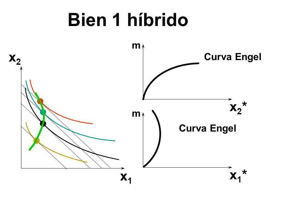 x2x2 x1x1 x1*x1* x2*x2* m m Curva Engel Bien 1 híbrido
