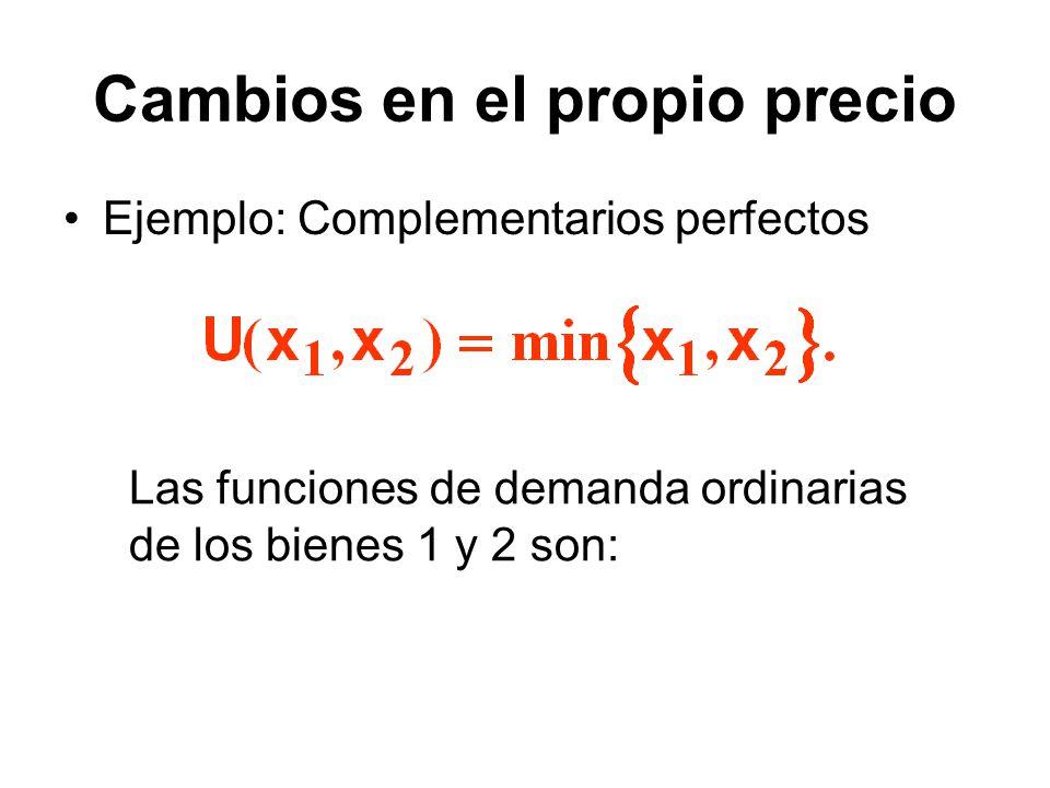 Cambios en el propio precio Ejemplo: Complementarios perfectos Las funciones de demanda ordinarias de los bienes 1 y 2 son: