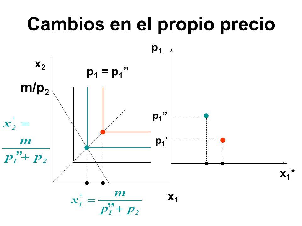 p1p1 x1*x1* x1x1 x2x2 p 1 p 1 = p 1 m/p 2 Cambios en el propio precio