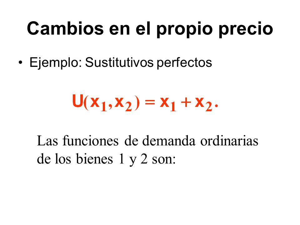 Ejemplo: Sustitutivos perfectos Las funciones de demanda ordinarias de los bienes 1 y 2 son: