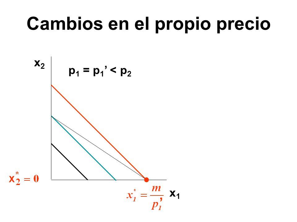 x2x2 x1x1 p 1 = p 1 < p 2 Cambios en el propio precio
