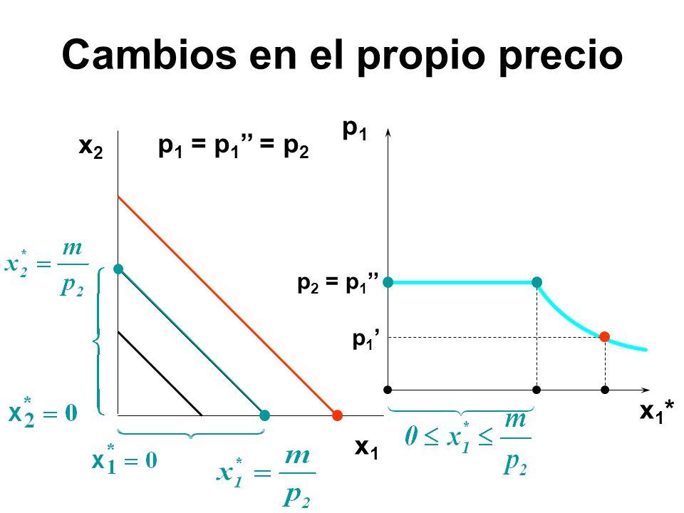 x2x2 x1x1 p1p1 x1*x1* p 1 p 1 = p 1 = p 2 p 2 = p 1 Cambios en el propio precio