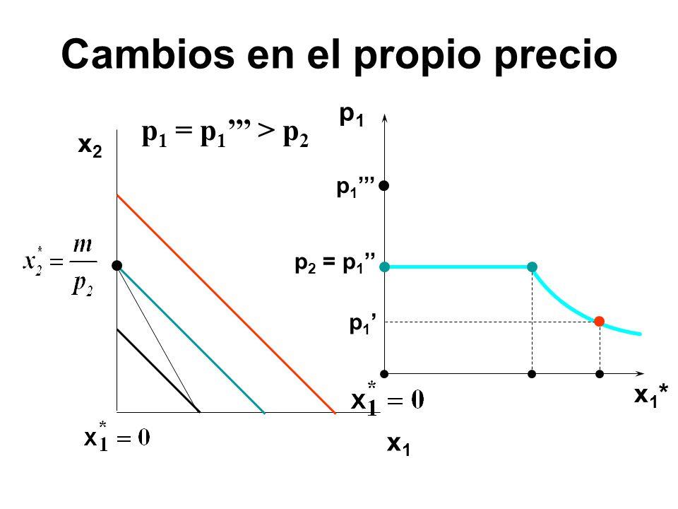 x2x2 x1x1 p1p1 x1*x1* p 1 p 2 = p 1 p 1 = p 1 > p 2 Cambios en el propio precio