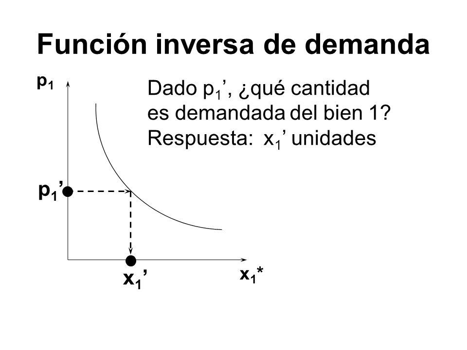 Función inversa de demanda p1p1 x1*x1* p 1 Dado p 1, ¿qué cantidad es demandada del bien 1? Respuesta: x 1 unidades x 1