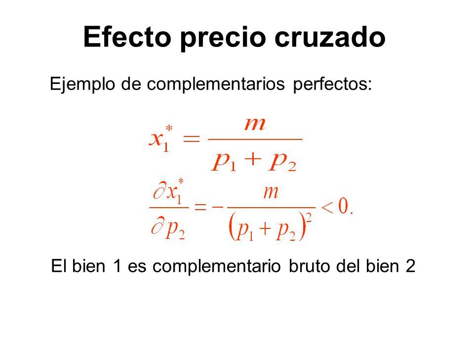 Ejemplo de complementarios perfectos: El bien 1 es complementario bruto del bien 2 Efecto precio cruzado