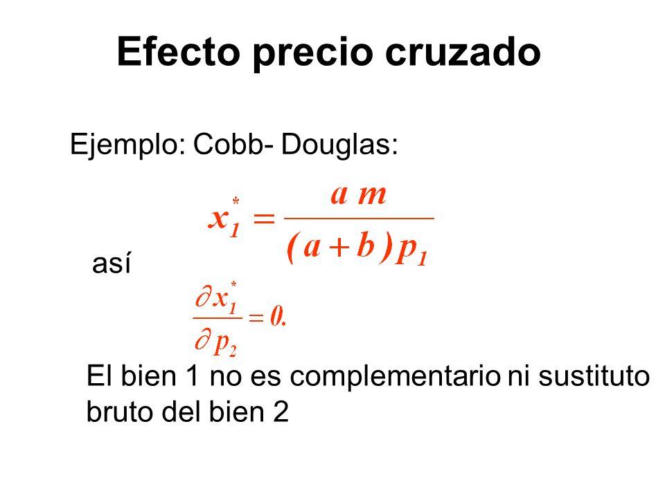 Ejemplo: Cobb- Douglas: así El bien 1 no es complementario ni sustituto bruto del bien 2 Efecto precio cruzado