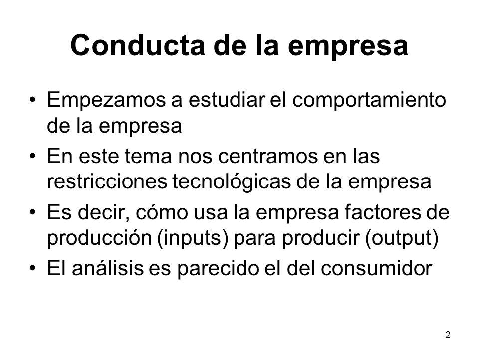 2 Conducta de la empresa Empezamos a estudiar el comportamiento de la empresa En este tema nos centramos en las restricciones tecnológicas de la empre
