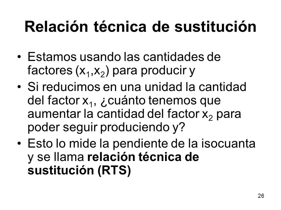 26 Relación técnica de sustitución Estamos usando las cantidades de factores (x 1,x 2 ) para producir y Si reducimos en una unidad la cantidad del fac